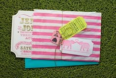 pink circus invites to a party. Love the theme. So cute.
