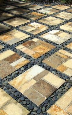Rock pathways are a backyard staple, but, sometimes it is a good idea to step outside the box when planning your rock pathway. Here are fifteen incredible variations on the classic rock pathway. Rock Pathway, Paver Walkway, Walkways, Driveways, Concrete Walkway, Backyard Patio, Backyard Landscaping, Landscaping Ideas, Gravel Patio