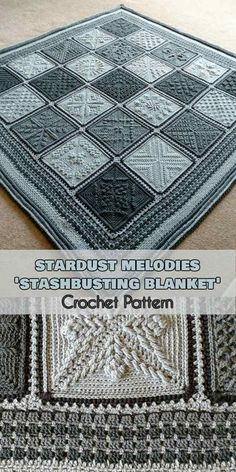 Stardust Melodies -'Stashbusting Blanket' [Crochet Pattern] Description of the pattern is free, however some of the squares from the pattern can be paid. #crochetblankets