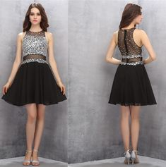 Black Homecoming Dresses,Cute Homecoming Dresses,Short Homecoming Dresses,Chiffon Prom Gown,Beading Prom Dresses