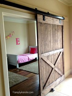 Add the farmhouse style to your home with these sliding barn door ideas! There are so many barn door styles and barn door designs to choose from so use our guide to help you decide the right barn door decor for you. Diy Sliding Barn Door, Sliding Doors, Interior Barn Doors, My New Room, My Dream Home, Home Projects, Sweet Home, New Homes, Room Decor