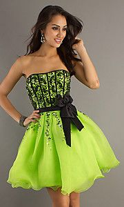 precious formals short strapless dress/