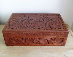 LARGE Carved Wooden Box Asian Carved Box Arts & Crafts Style Vine Leaves and Grapes UNISEX GIFT Boho Home Decor Hand Carved Vintage Box by BigGirlSmallWorld on Etsy
