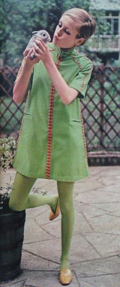DRESSES BY TWIGGY OF LONDON 1967. Runaway ribbon, with embroidery for company - finds it's way up and down a zip-it coatdress with raglan sleeves and welted pockets, in gaberdine (40 dollars).  Images and original text scanned by Sweet Jane from Seventeen Magazine September 1967, all three dresses by Twiggy of London, photographer: Joseph Santoro.