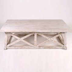 Coffee Table White Washed Mahogany Wood