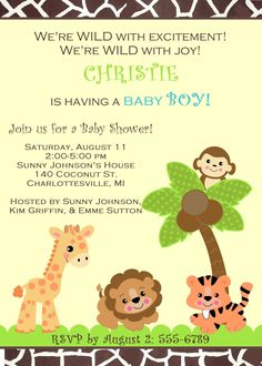 baby shower jungle safari zoo animals invitation for girl boy or gender unknown