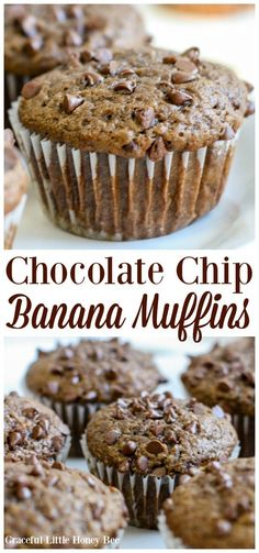 Chocolate Chip Banana Muffins Try these super quick and easy chocolate chip banana muffins for a fun homemade snack or homemade breakfast on gracefullittlehon Source by cupcakescutlery Pumpkin Chocolate Chip Muffins, Banana Chocolate Chip Muffins, Homemade Muffins, Homemade Breakfast, Quick Snacks, Muffin Recipes, Brunch Recipes, Appetizer Recipes, Bread Recipes