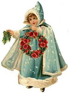Vintage Christmas girl with wreath clip art scraps decoupage. Vintage Christmas Images, Noel Christmas, Victorian Christmas, Vintage Holiday, Christmas Pictures, Vintage Images, Christmas Ideas, Christmas Decorations, Primitive Christmas