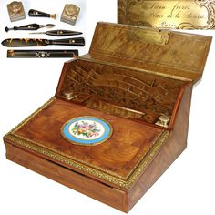 RARE Fine Antique French Writing Slope, Box, Inkwells, Pen, Etc., and Sevres Plaque - Susse Freres