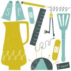 debbie powell, texture, colour scheme, illustration, design, paper cut, print, things, collection, mint, blue, mustard
