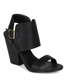fbd5de8891345 Liliana BK16 Women Leatherette Shield Cuff Open Toe Chunky Heel Sandal Black  Size 60   You