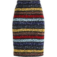 ALICE + OLIVIA   Striped sequinned skirt found on Polyvore featuring skirts, bottoms, knee length skirts, sequin skirt, stripe skirt, beaded pencil skirt and striped sequin skirt