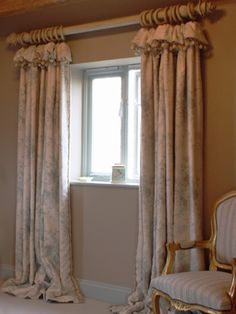 Printed linen curtains with soft heading