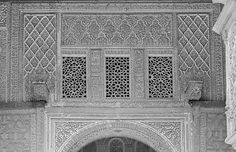 Image SPA 2126x featuring decorated areaarch and latticework from the Alcazar, in Seville, Spain, showing  using stucco or plasterwork.
