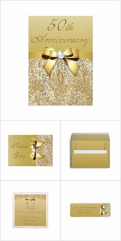 50th Gold Wedding Anniversary invitations, matching custom thank you cards, envelopes, address labels, personalized napkins and favor boxes.