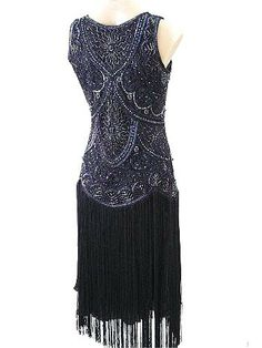 Evening Dresses 1920 Era   1920s Style Beaded Black Fringe Jazz Baby Flapper Dress-20s Insired ...