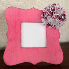 Distressed wood picture frame with fabric by BrecksCountryDesigns