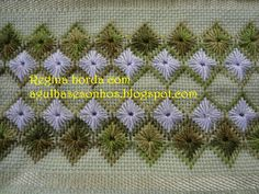 BARRAS EM PONTO RETO E ILHÓS ESTRELA Cross Stitch Borders, Cross Stitching, Swedish Weaving, Drawn Thread, Chicken Scratch, Bargello, Cutwork, Ribbon Embroidery, Needlepoint