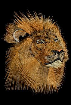 Embroidered African Lion by Phil, just one of the Embird classes that is part of the 240 hours of Embird training provided by Phil Nail String Art, String Crafts, Art Crafts, Arte Linear, String Art Patterns, Thread Art, Pin Art, Button Art, Jolie Photo