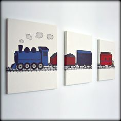 Train Painting on Three 11x14 Canvases Ready to Ship