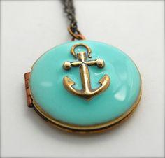 Anchor Necklace Locket Vintage Custom Enamel Jewelry by verabel