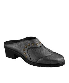 Another great find on #zulily! Gunmetal Click Studded Leather Mule #zulilyfinds