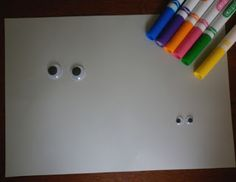 Wiggly Eye Drawing Starter - invite them to draw monsters, animals, people, etc.  Googly eyes even come in colors & with eyelashes.
