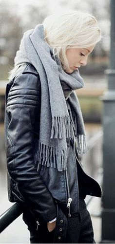 Jacket <3 the whole look, grey scarf, black leather, blonde