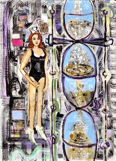 Borai & Kahne Ateliers, Luck Fairy - Glücksfee Single Sheets, Tempera, Saatchi Art, Original Paintings, Fairy, Collage, The Originals, Atelier, Collages