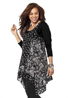 Printed Asymmetrical Hem Tunic by Taillissime® | Plus Size Taillissime® | OneStopPlus- Cute snowflake pattern, for winter. Love that it comes layered.