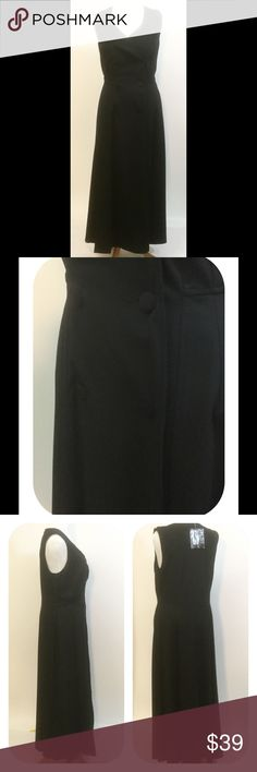 """New Eshakti Black Fit Flare Maxi Coat Dress 16W New Eshakti black fit and flare maxi coat dress. Size 16W  Measured flat: Underarm to underarm: 41"""" Waist: 36"""" Length: 58 ½""""  Eshakti size guide for 16W bust: 43"""" Surplice neck, double breasted front w/ fabric covered buttons. Seamed waist, flared maxi skirt. Lined in polytafeta. Rayon/nylon/spandex. Heavier weight. Machine wash. eshakti Dresses Maxi"""