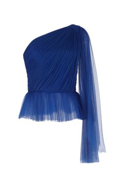 Delpozo Draped Tulle Top In Blue Ropa Louis Vuitton, Looks Party, Bodice Top, Fashion Sketches, Couture Fashion, Blouse Designs, Spring Fashion, Womens Fashion, Fashion Trends
