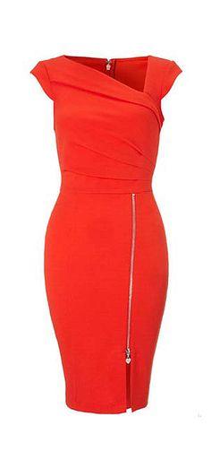 #Coral #Zip #Pencil #Dress