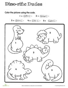 If you're looking for a simple and fun way to reinforce your preschooler's color and number practice, this sweet dinosaur color by number is just the ticket.