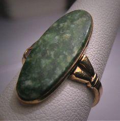 Antique Jade Ring Vintage Victorian Gold Circa 1920