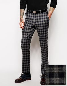 Asos Slim Fit Smart Trousers In Tartan in Gray for Men (Grey) | Lyst