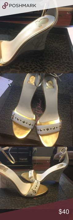 Baby phat white/gold wedges, size 8 New white wedges, never used, bought the wrong size and never returned them. Baby Phat Shoes Heels