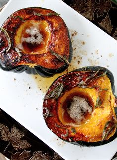 Roasted Acorn Squash with Browned Butter and Sage - A HIT! - so simple to make; takes time to bake the squash, but worth it! Sweet, savory, and buttery; this recipe is a keeper!
