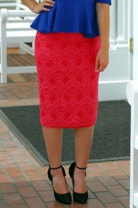Lace Pencil Skirt - Coral - $25