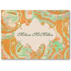 Orange & Mint Green Paisley Business Cards