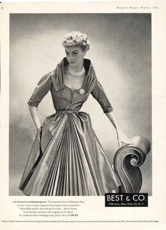 Best & Co. Advertisement featuring Hannah Troy Silk Taffeta Dress with Pleats in Cornflower Blue, Midnight Navy, and Black / October 1951 / $7.99