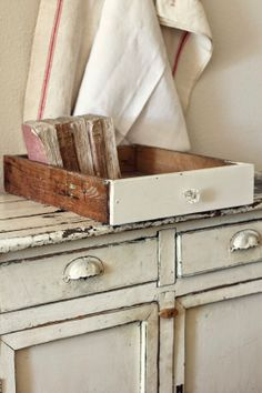 repurposing old drawers for storage ..