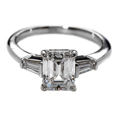 Tiffany & Co. 1.80 Carat Emerald Cut Diamond Platinum Engagement Ring | From a unique collection of vintage bridal rings at https://www.1stdibs.com/jewelry/rings/bridal-rings/