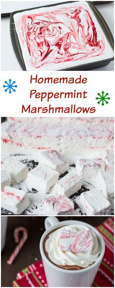 Homemade peppermint marshmallows go hand in hand with homemade peppermint hot cocoa! All that is missing is a crackling fireplace :) Recipes With Marshmallows, Homemade Marshmallows, Homemade Candies, Marshmallow Recipes, Köstliche Desserts, Delicious Desserts, Dessert Recipes, Holiday Baking, Christmas Baking