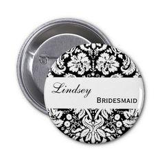 #BRIDESMAID #Pin #Button #Black #Damask