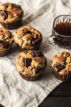 Best Almond Flour Banana Chocolate Chip Muffins (gluten-free, paleo) - NattEats  #almondflourbananamuffins #sugarfreemuffins #paleobananamuffins #healthybananamuffins