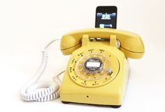 Vintage 70's Canary Yellow Rotary iPhone iPod speaker dock