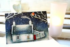 Pack of 3 'Snowy Cottage with Robin' Christmas by TeskaArt on Etsy