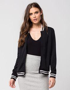 FULL TILT Track Womens Knit Bomber Jacket