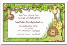 Jungle+Hangout+Birthday+Party+Invitations+feature+a+monkey...